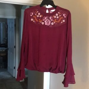 Tops - Maroon long sleeve blouse with flowers